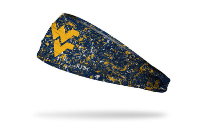 navy paint splatter headband with West Virginia University WV logo in gold