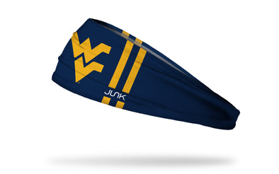 navy headband with West Virginia University gold W V in front center with gold stripes on left and right