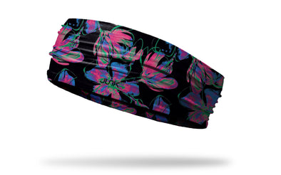black with repeating pattern of neon florals headband