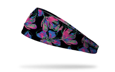 black headband with repeating pattern of neon flowers