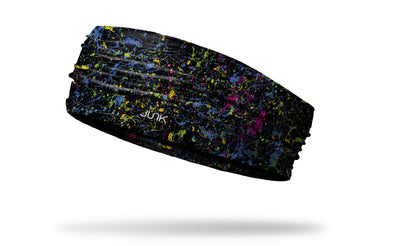 colorful black and multicolored paint splattered headband