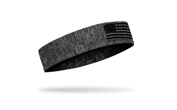 grey and black heathered JUNK headband with distressed american flag outline in black