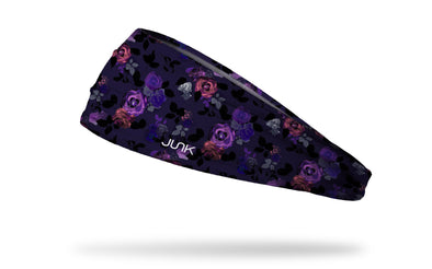 dark purple headband with purple and magenta floral print