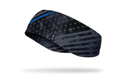 black ear warmer with grey stars and stripes grunge pattern and thin blue line