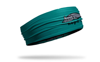 teal green blue cat with nope word headband