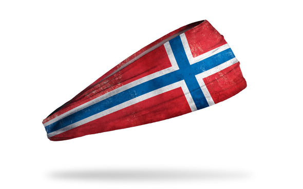 headband with traditional Norway flag design with grunge overlay