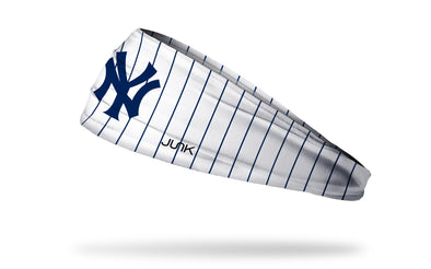 white headband with navy pinstripes and New York Yankees N Y logo in navy