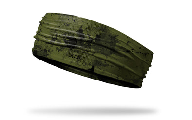 od green headband with grunge overlay design