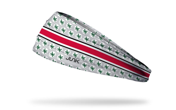 grey and white headband with red band line and Ohio State University Buckeyes logo repeating in green