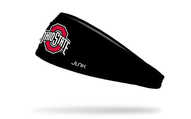 black headband with Ohio State O and Wordmark logo in red and white