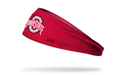 red headband with Ohio State O and Wordmark logo in white, grey, and red