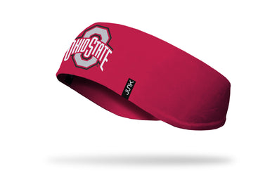 red ear warmer with Ohio State O and Wordmark logo in white, grey, and red