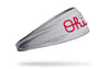 grey headband with Ohio State Ohio script logo in red