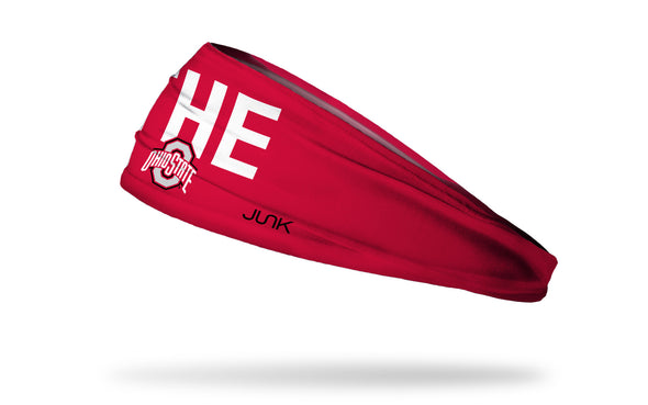 red headband with THE Ohio State logo in white and grey