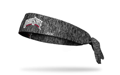 grey static headband with Ohio State Wordmark logo in red and white