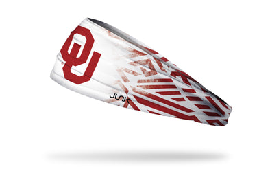 white headband with Oklahoma University OU logo and tribal print in crimson