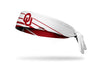 reversible white headband with Oklahoma University OU logo and accent lines in crimson