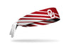 reversible crimson headband with Oklahoma University OU logo and accent lines in white