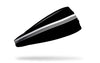 black headband with white varsity stripes through middle