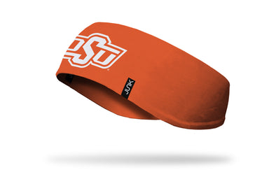 orange ear warmer with Oklahoma State University O S U logo in white