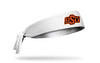 white headband with Oklahoma State University O S U logo in orange and black