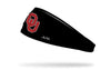 black headband with Oklahoma University OU logo in crimson with white outline