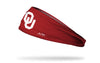 crimson headband with Oklahoma University OU logo in white