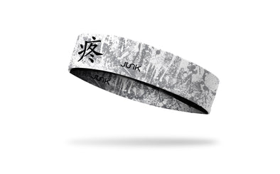 white and grey distressed design headband with chinese symbol of pain in black