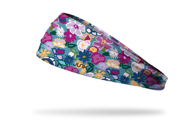 teal headband with pink magenta and yellow blocky floral print