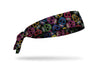 black headband with brightly colored random pattern of decorated skulls