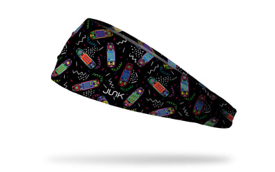 90's themed black headband with repeating pattern of clear babysitters club phone