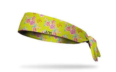 bright yellow headband with repeating pattern of prim and proper pretty pink flowers