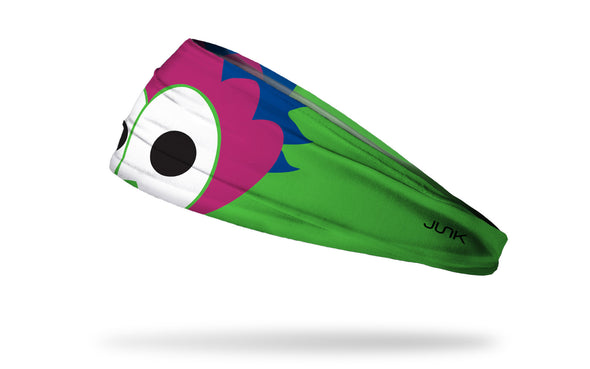 bright headband with focus on Philadelphia Phillies Phillie Phanatic mascot eyes
