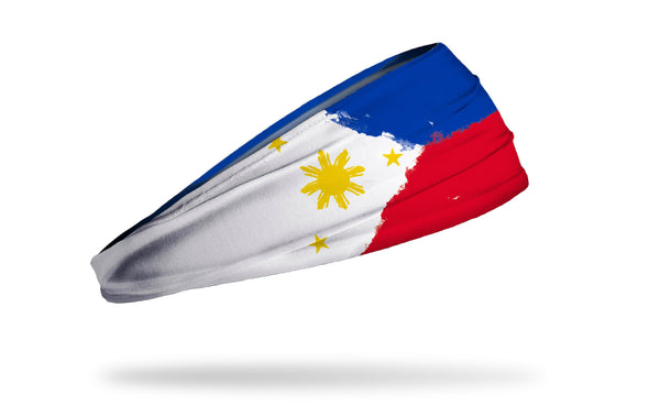 headband with traditional Philippines flag design made to look like it has been painted