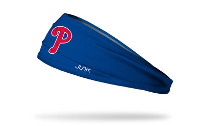 blue headband with Philadelphia Phillies P logo in red with white outline