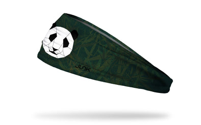 dark green and dark grey bamboo leaf print headband with geometric panda in center