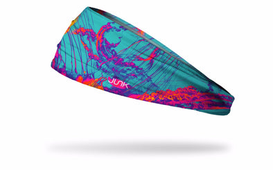 colorful headband with pink orange and turquoise blue organic jellyfish design
