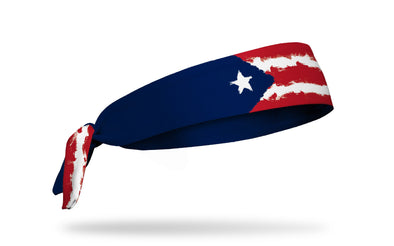 headband with traditional Puerto Rico flag design made to look like it has been painted