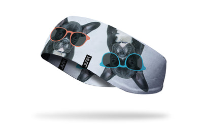 white ear warmer with french bulldogs wearing colorful orange red and blue sunglasses design