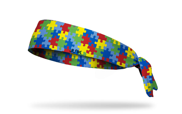 rainbow puzzle piece print headband in honor of Autism Awareness