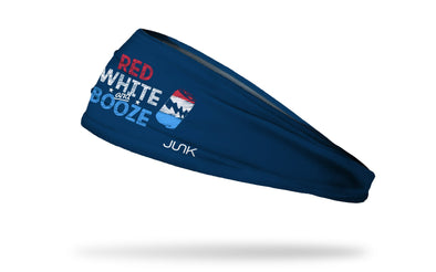 navy blue headband with red and white wordmark Red, White, and Booze