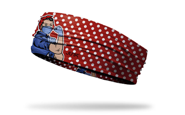 red headband with white polka dots and Rosie the Riveter wearing a face mask in full color