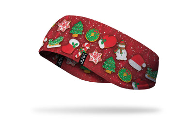christmas decor on red ear warmer left side