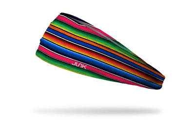 brightly colored headband designed to look like a traditional latin american blanket or shawl