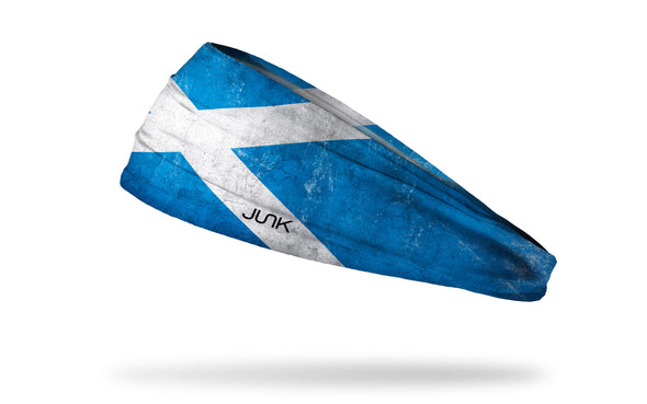 headband with traditional Scotland flag design with grunge overlay