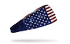 red white and blue american flag print headband with glitter print incorporated into flag