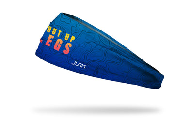 blue to navy fade headband with cartography outlines in navy and Shut Up Legs wordmark in yellow red