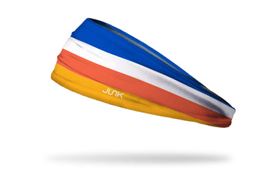 blue white orange gold striped headband