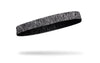 right side view of black and grey heathered JUNK thin band headband
