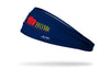 navy blue headband with stay at home wordmark in red and yellow with a tiny house outline